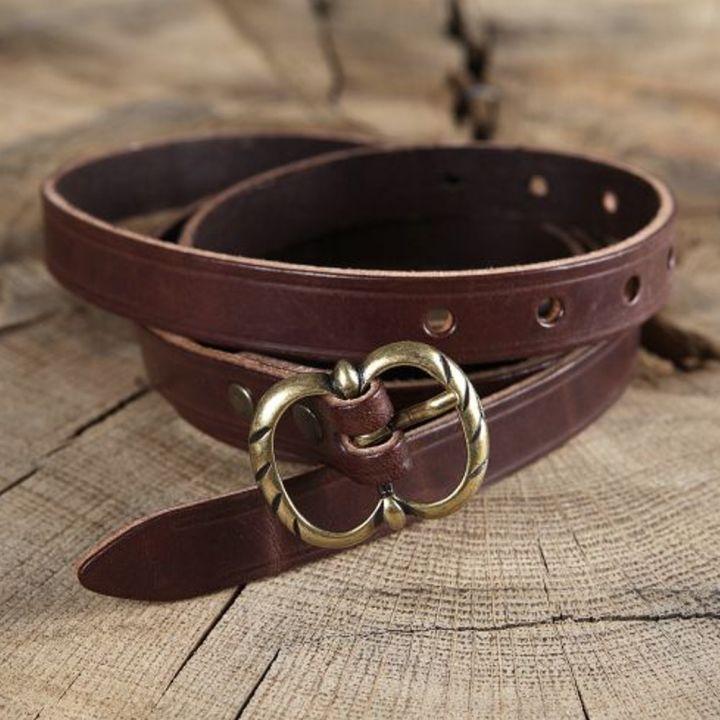 Longue ceinture médiévale en cuir à boucle double