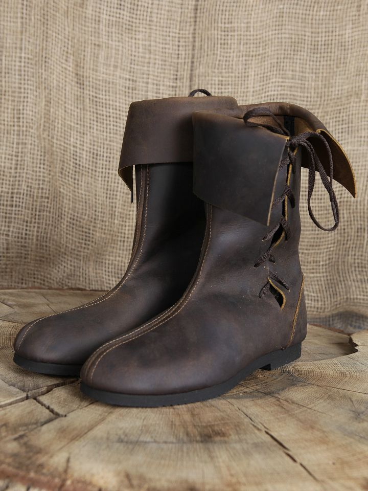 Bottines médiévales en cuir 43 | marron