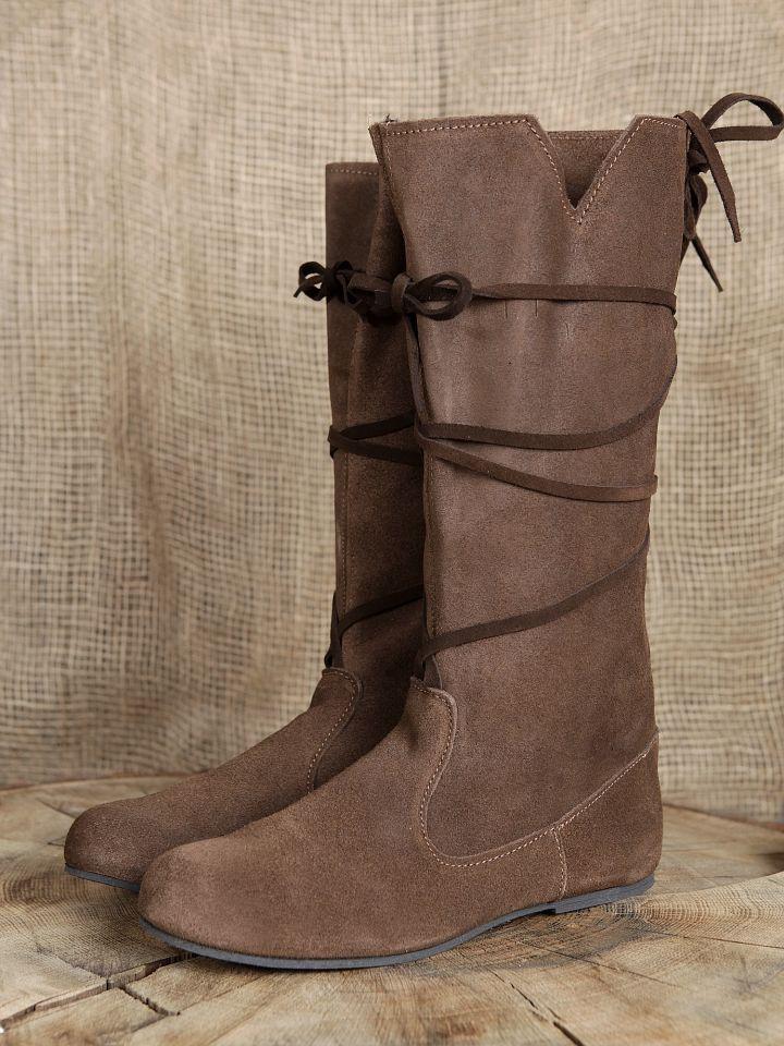 bottes m di vales en cuir chamois lacets pour femme la boutique m di vale. Black Bedroom Furniture Sets. Home Design Ideas