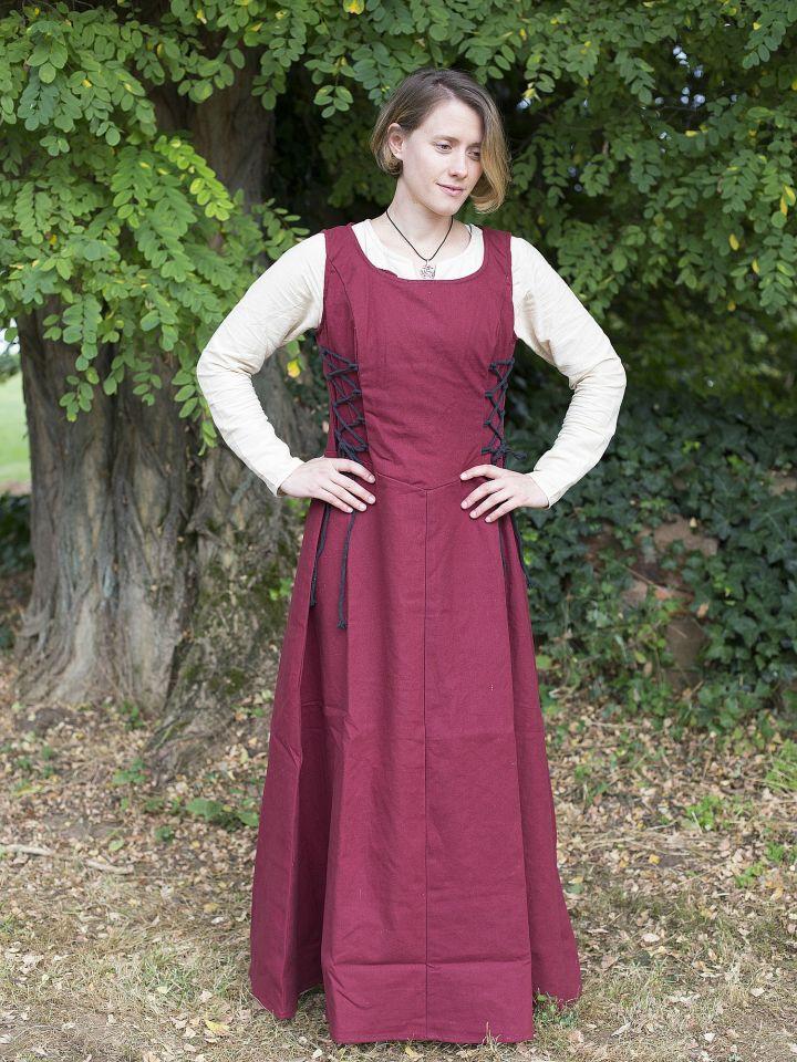 Robe médiévale sans manche en rouge S
