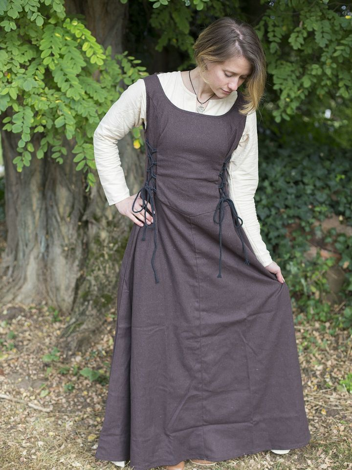 Robe médiévale sans manche en marron XL