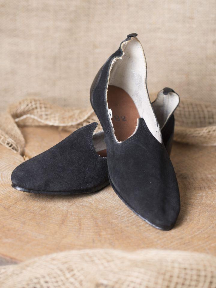 Chaussures médiévales, semelle en caoutchouc, noires