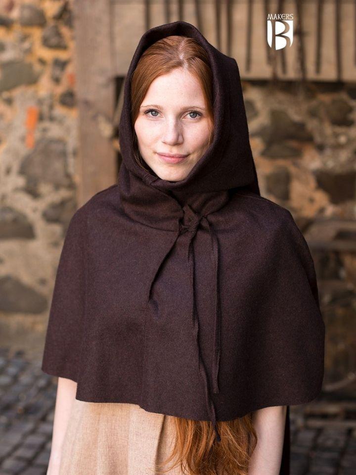 Capuchon médiéval en marron