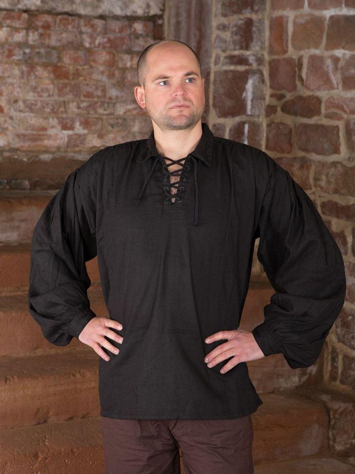 Chemise médiévale manches bouffantes en noir XXL