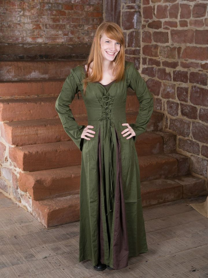 Robe Médiévale Alina en vert olive et marron S/M