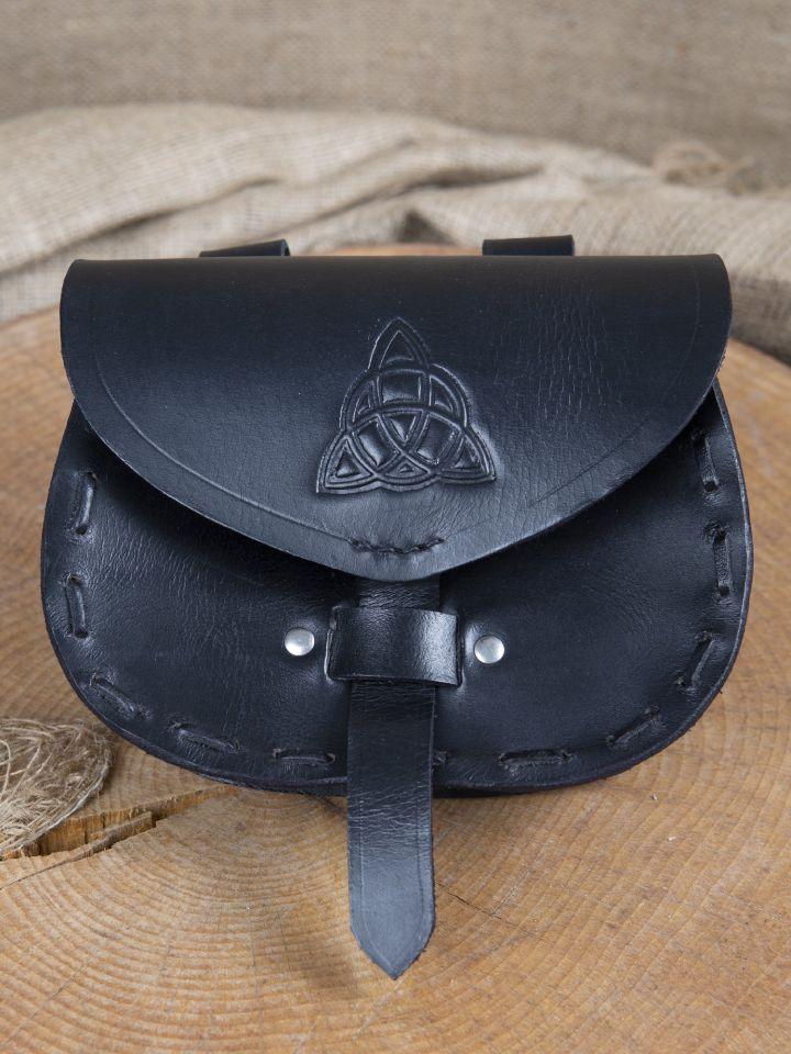 Sacoche de ceinture en cuir triskele en noir