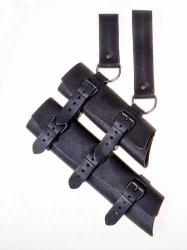 Porte-épée double, en cuir noir