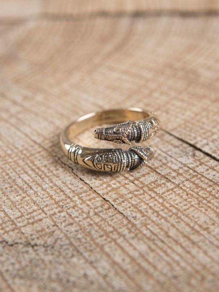 Bague viking têtes de dragon, en bronze petit