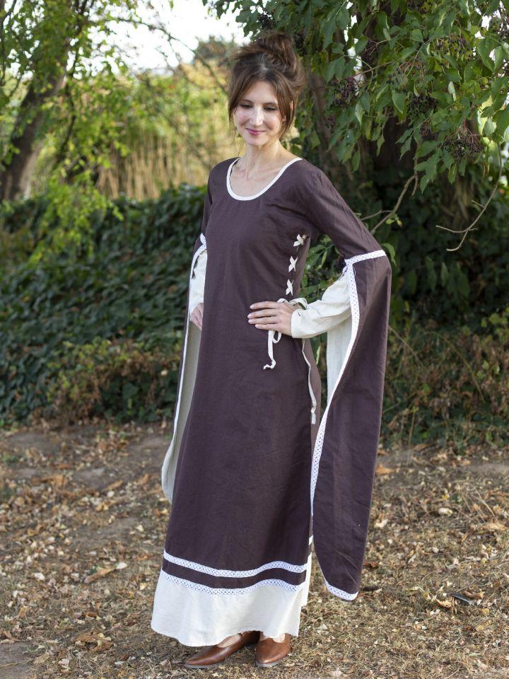 Robe médiévale manches flottantes, marron/écru