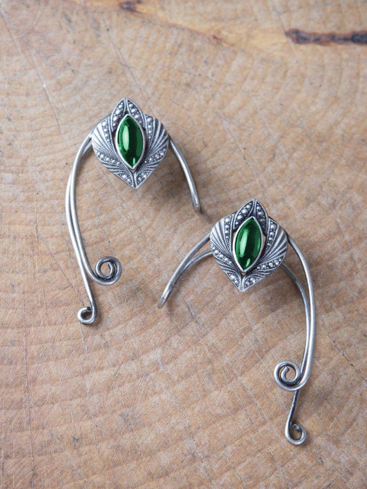 Clips d'oreille avec pierre verte Oreille droite
