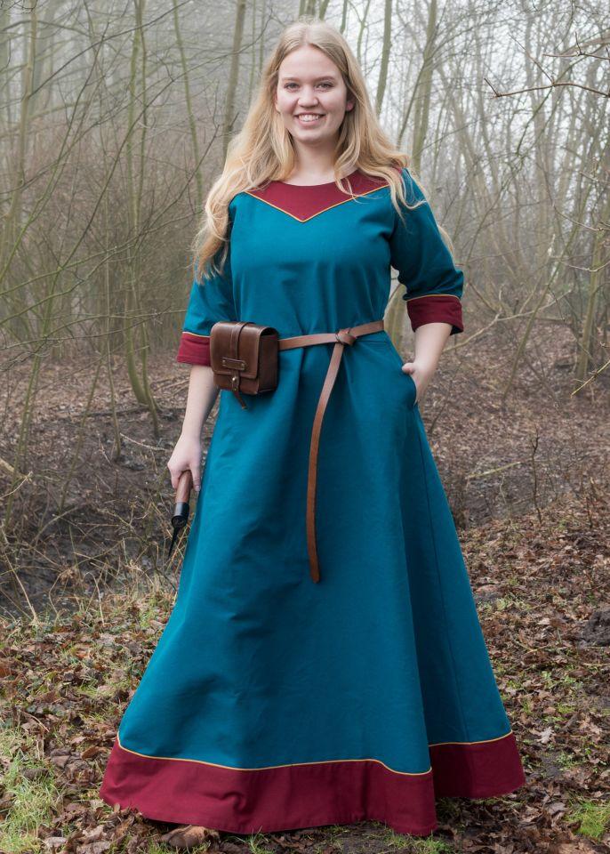 Robe médiévale Gesine bleu pétrole