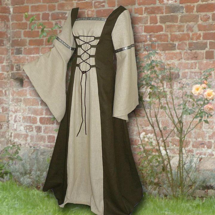 Robe médiévale Elisabeth en vert olive et sable