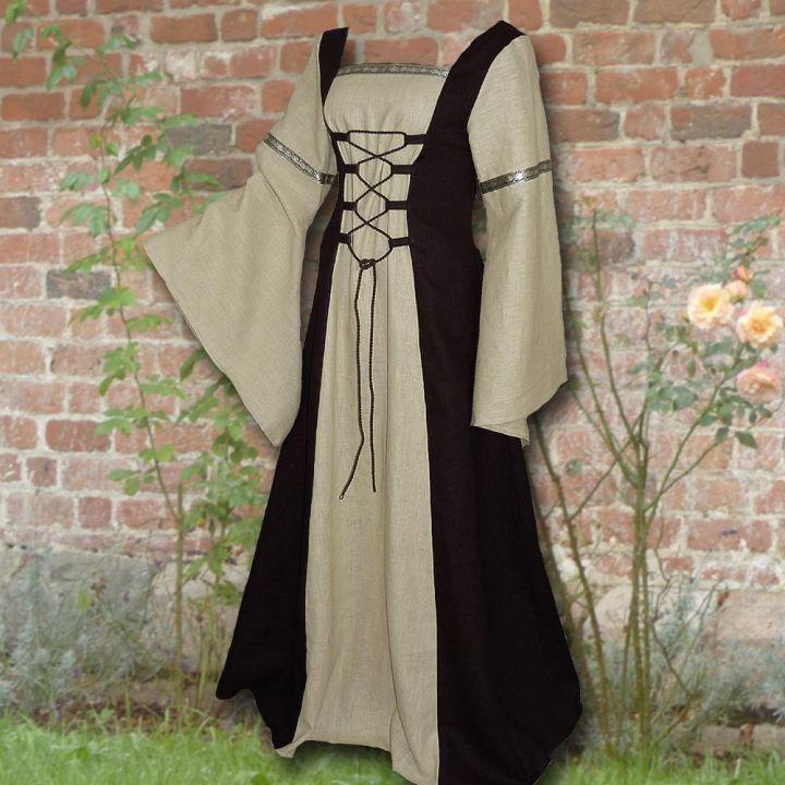 Robe médiévale Elisabeth en noir et sable