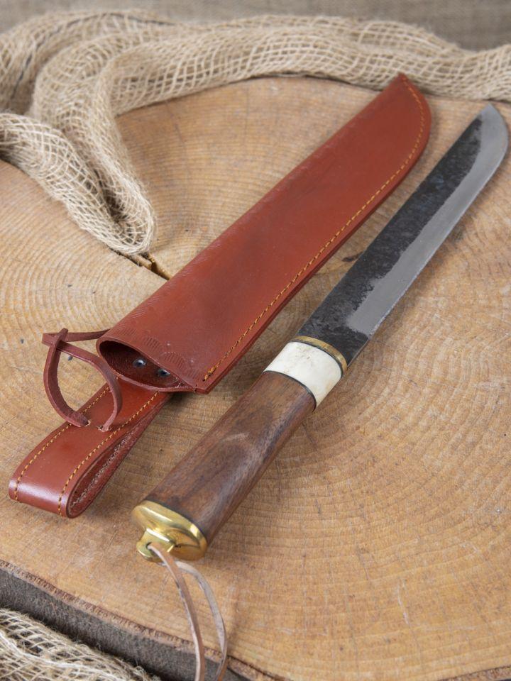 Couteau médiéval avec manche en bois fourreau en cuir inclus