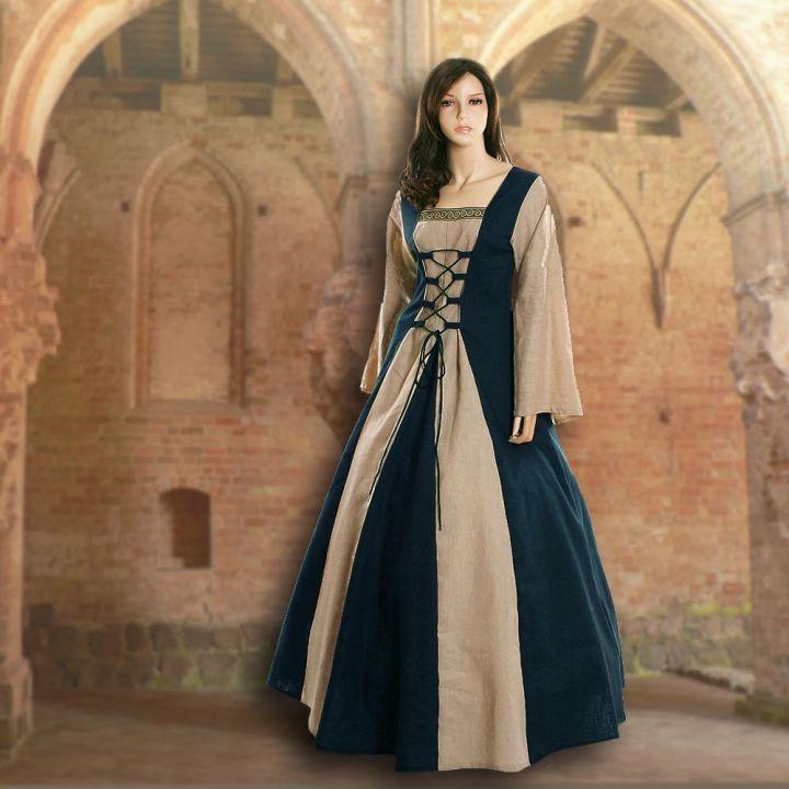 Robe médiévale Fabienne en bleu foncé et sable