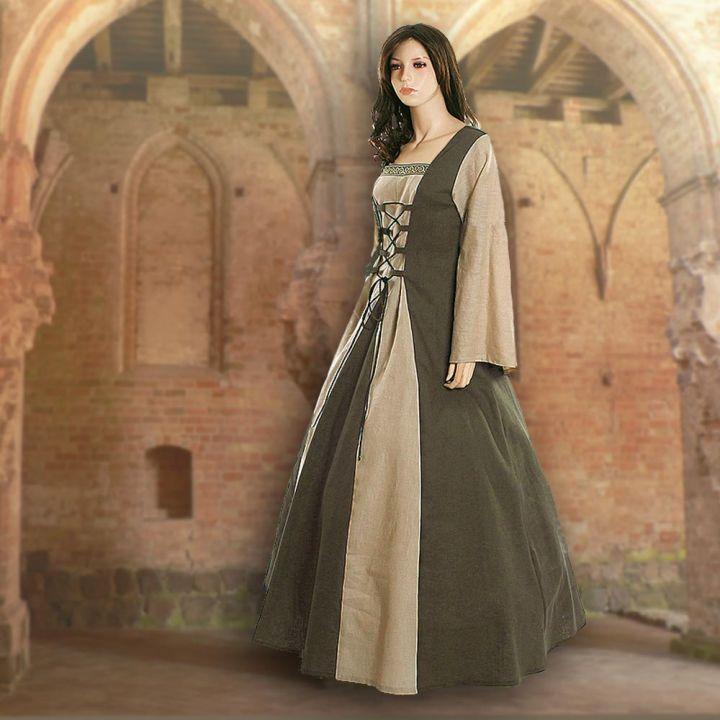Robe médiévale Fabienne en vert olive et sable