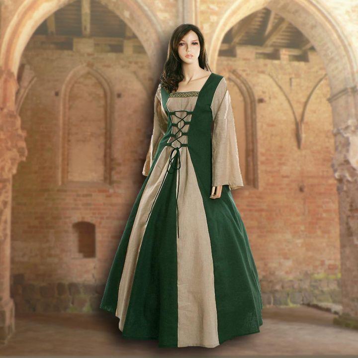 Robe médiévale Fabienne en vert et sable