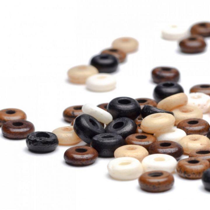 Perle plate en os 6 mm