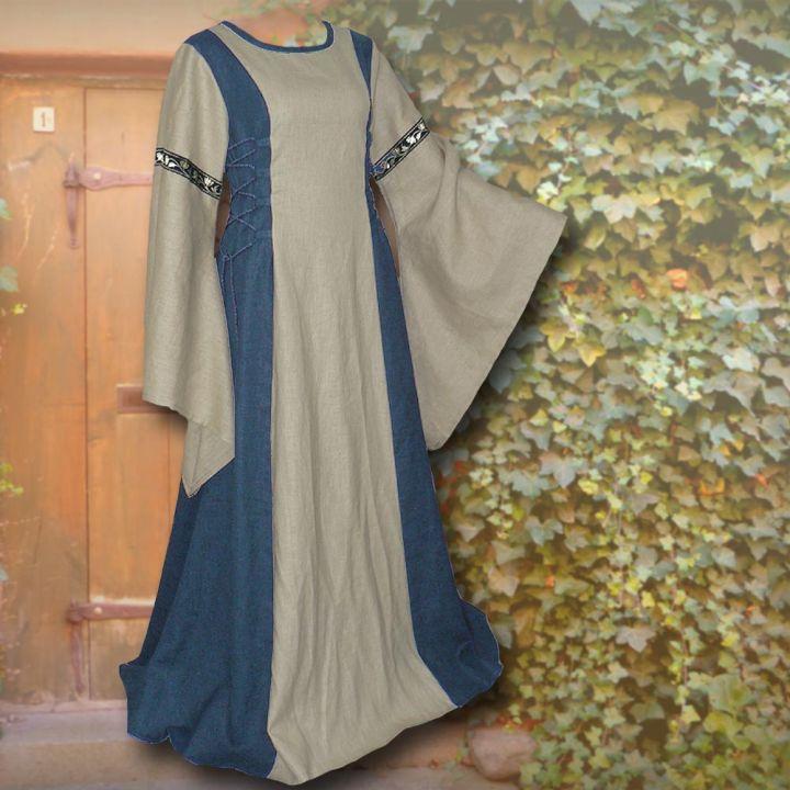 Robe médiévale Frieda en bleu et sable