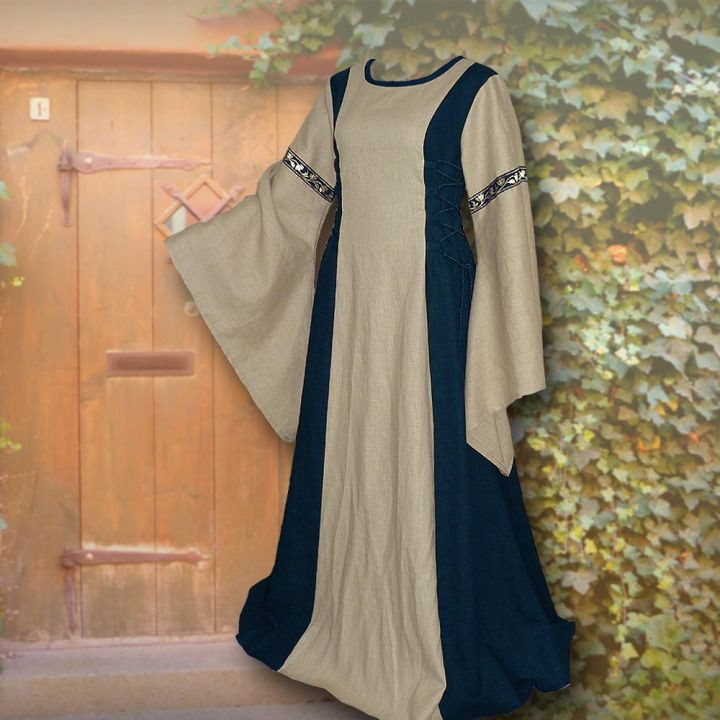 Robe médiévale Frieda en sable et marine