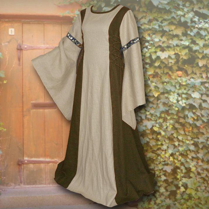 Robe médiévale Frieda en sable et vert olive