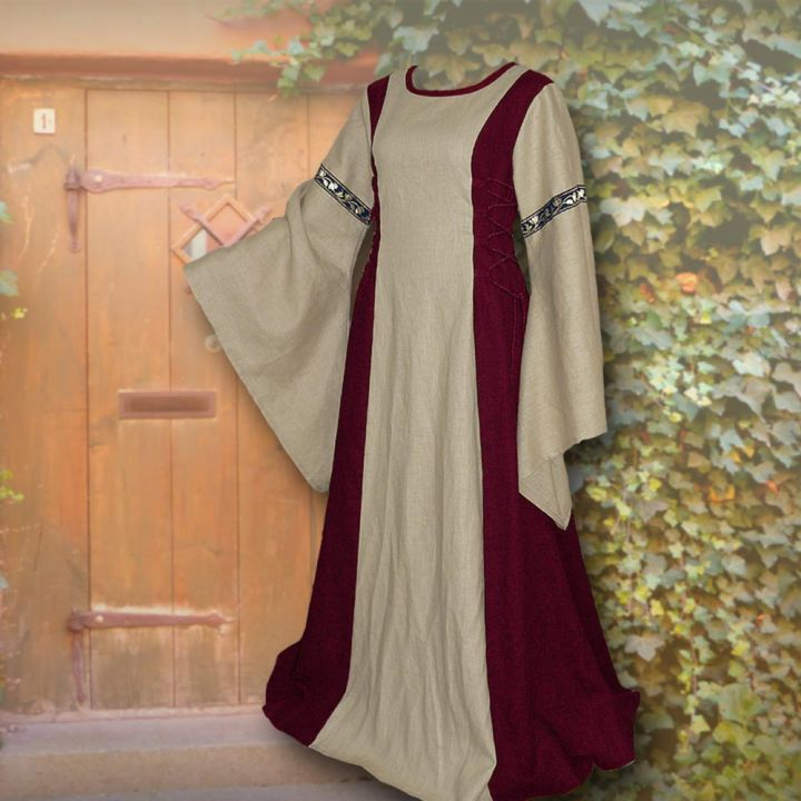 Robe médiévale Frieda en sable et bordeaux