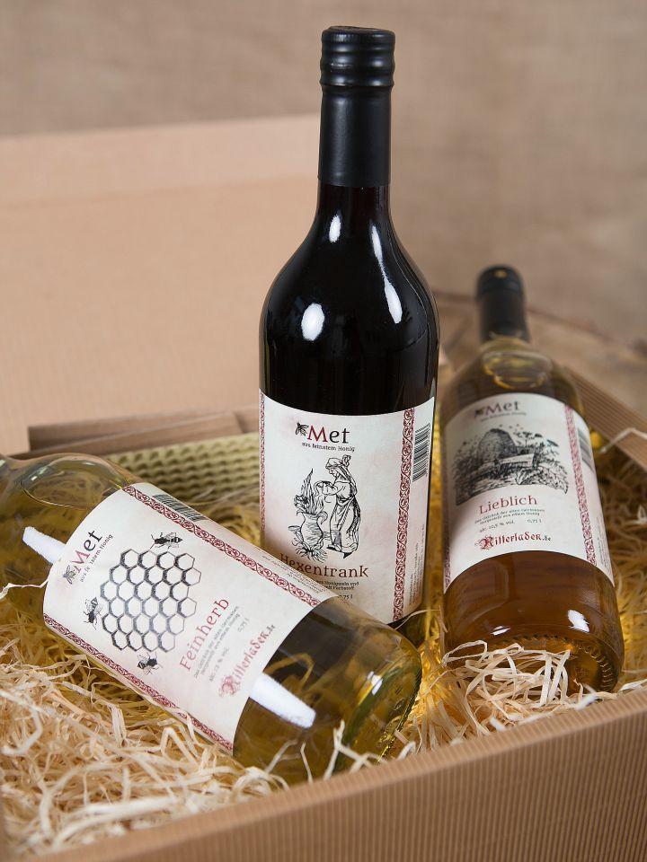 Coffret cadeau comprenant 3 bouteilles d'hydromel