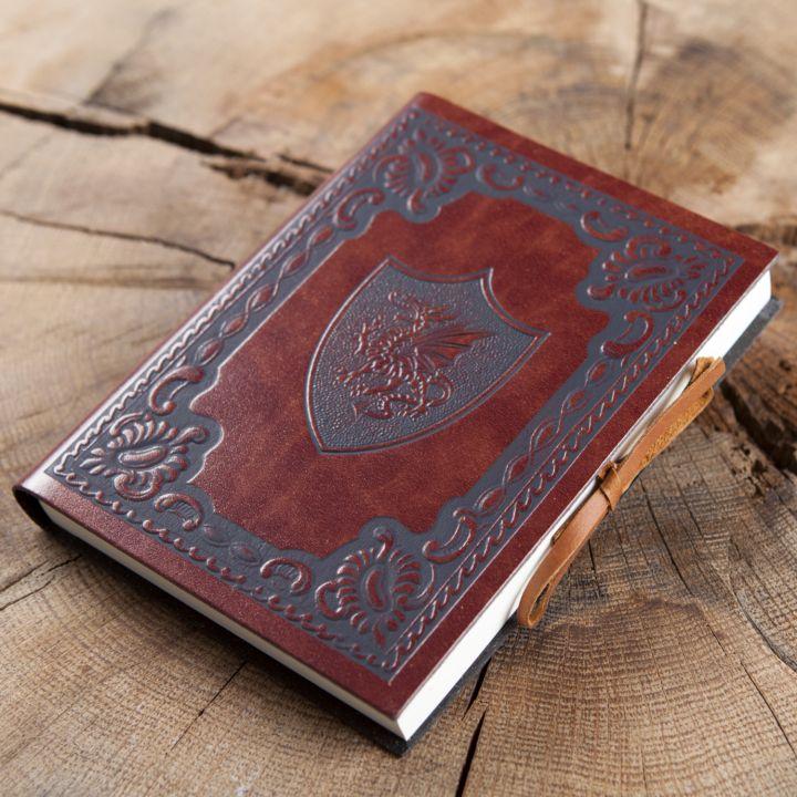 Livre en cuir Dragon ailé moyen 12 cm x 17 cm