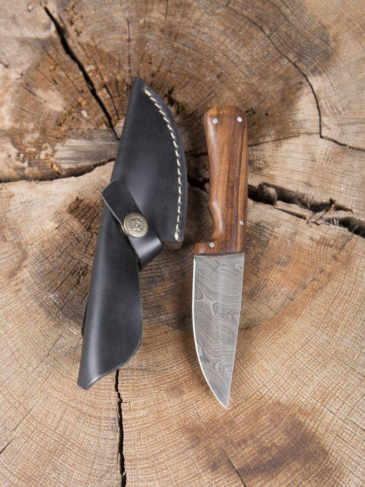 Couteau à lame Damas avec manche en bois de rose
