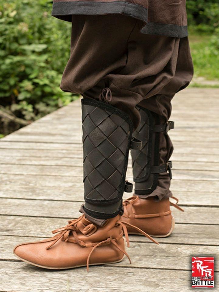 Jambières Viking en cuir, noires