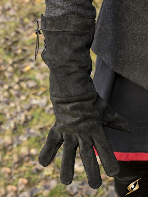 Gants en cuir suédé noir