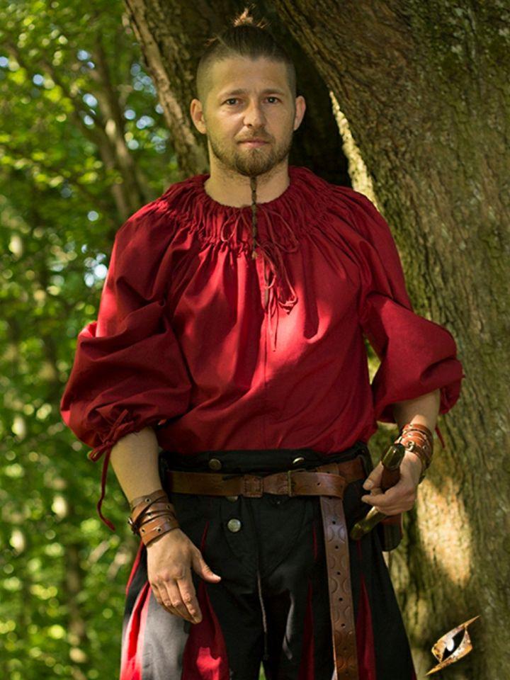Chemise à encolure froncée en rouge