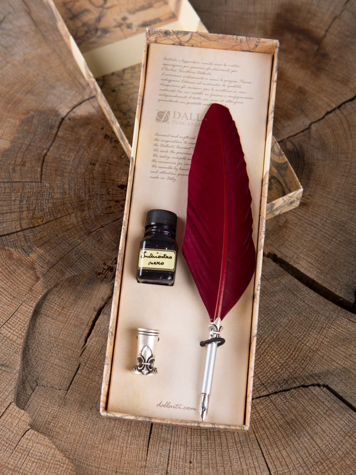 """Set de calligraphie """"Fleur de Lys"""", plume rouge"""