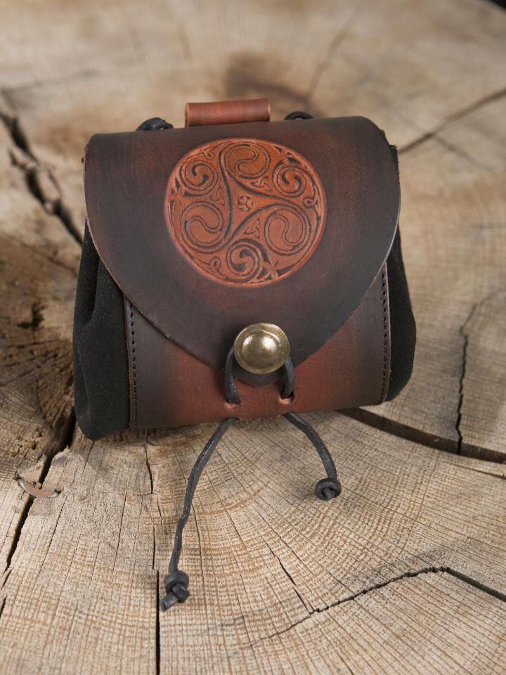 """Petit sac de ceinture en cuir, motif """"triskele"""