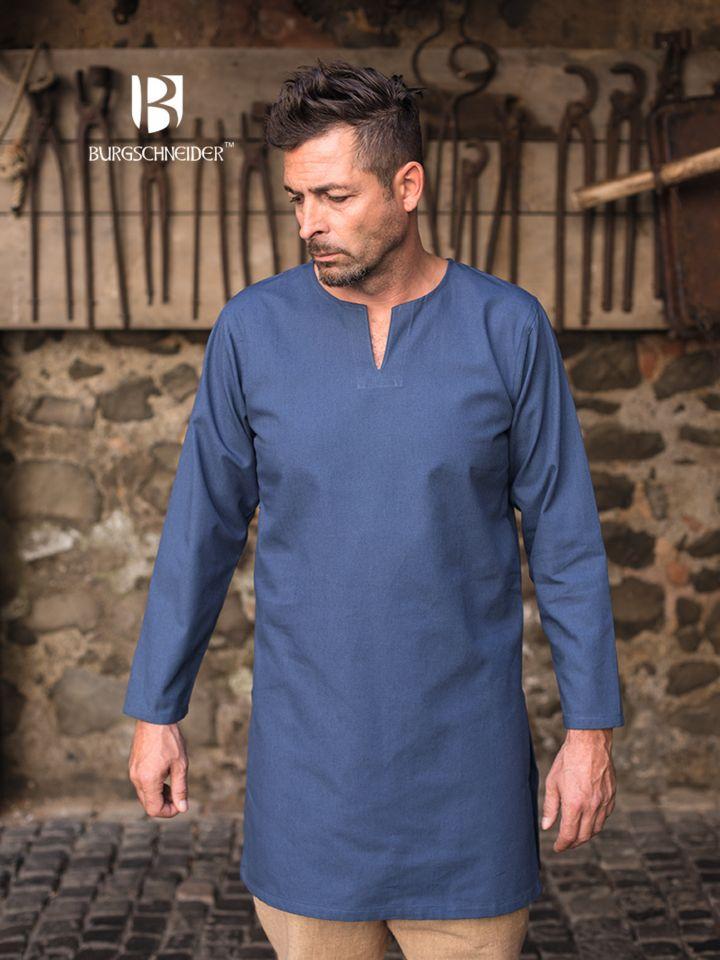 Tunique en coton peigné, en bleu
