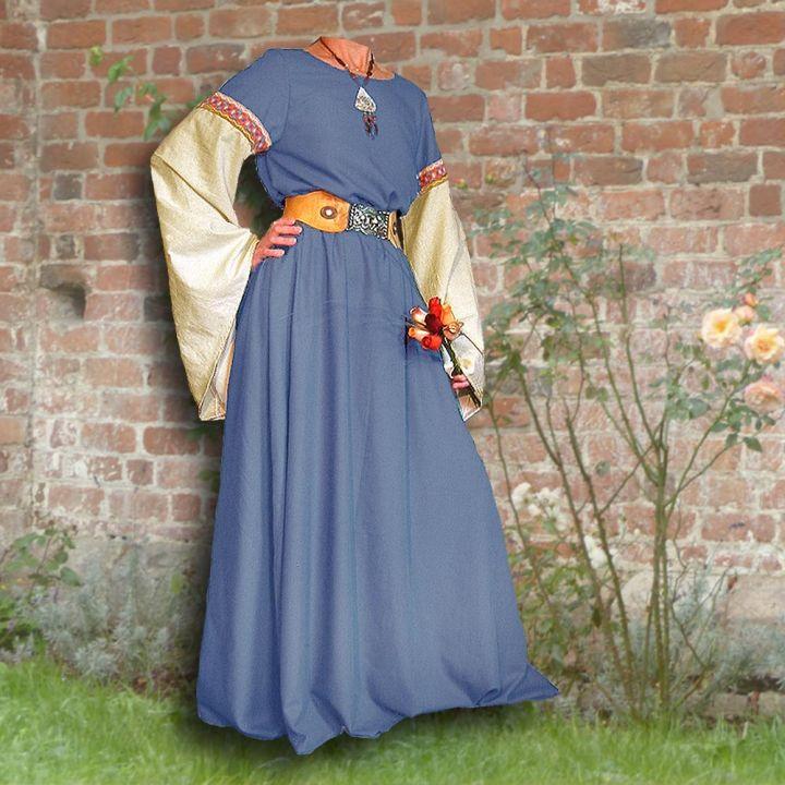Robe médiévale Johanna à capuche en bleu clair