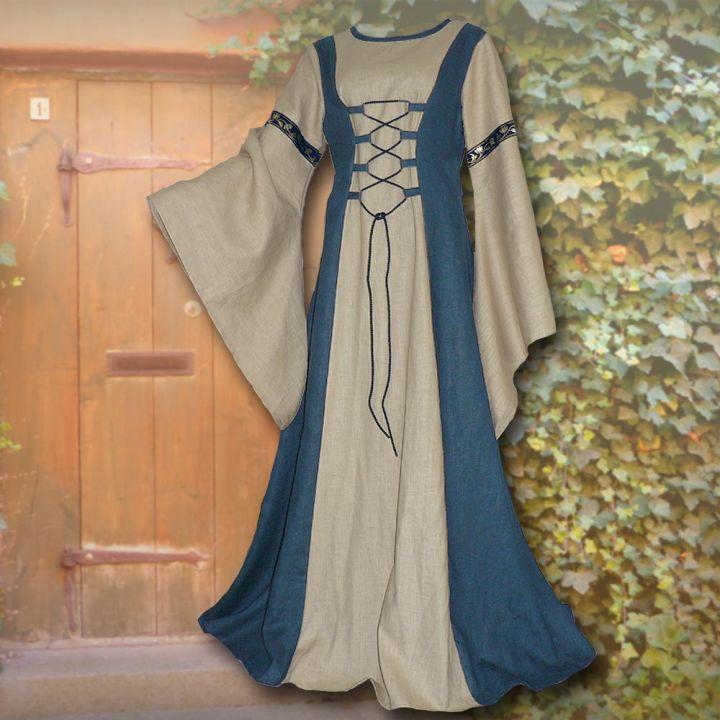 Robe médiévale Catherine sable et bleu clair