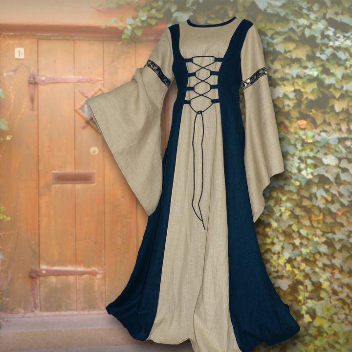 Robe médiévale Catherine bleu marine et sable