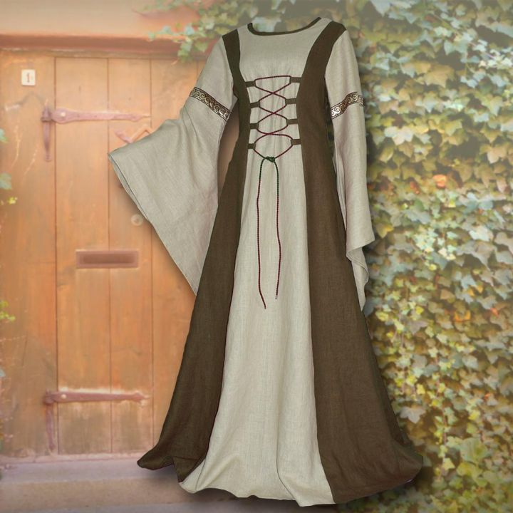 Robe médiévale Catherine vert olive et sable