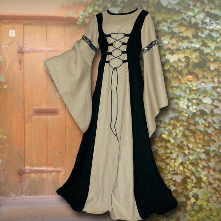 Robe médiévale Catherine sable et noir
