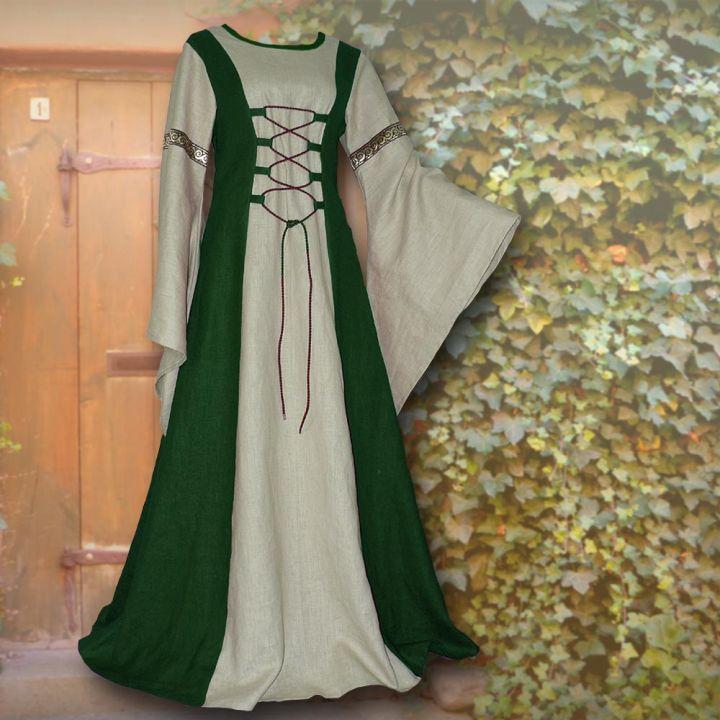 Robe médiévale Catherine sable et vert