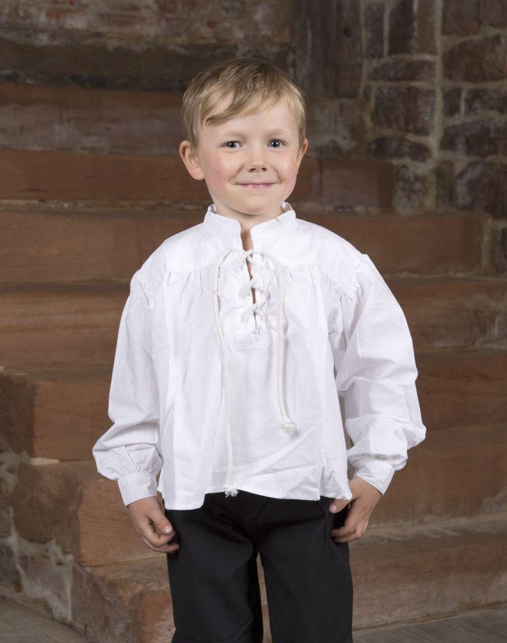 Chemise blanche avec col lacé pour enfant grande