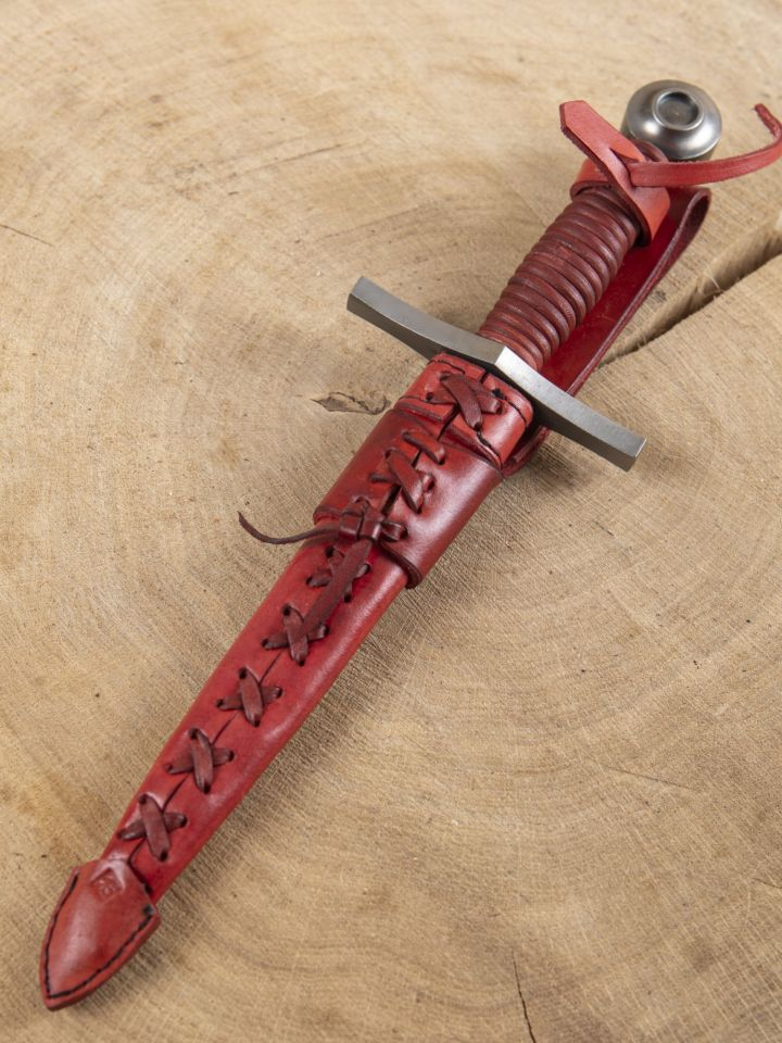Dague pommeau disque cuir rouge