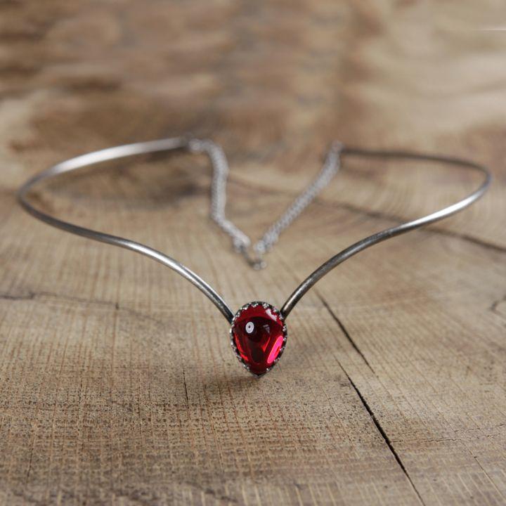 Tiare simple pierre rouge