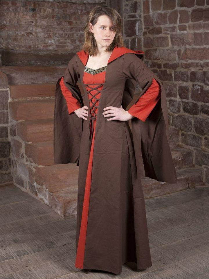 Robe Médiévale Ketlin en marron et rouge