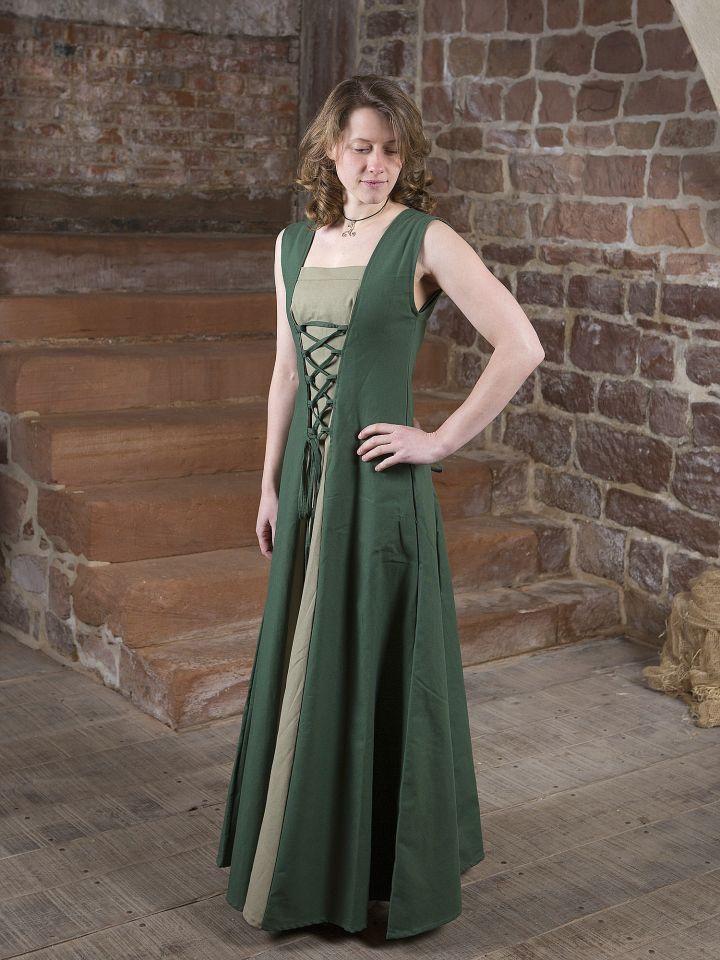 Robe médiévale Yunie en vert olive