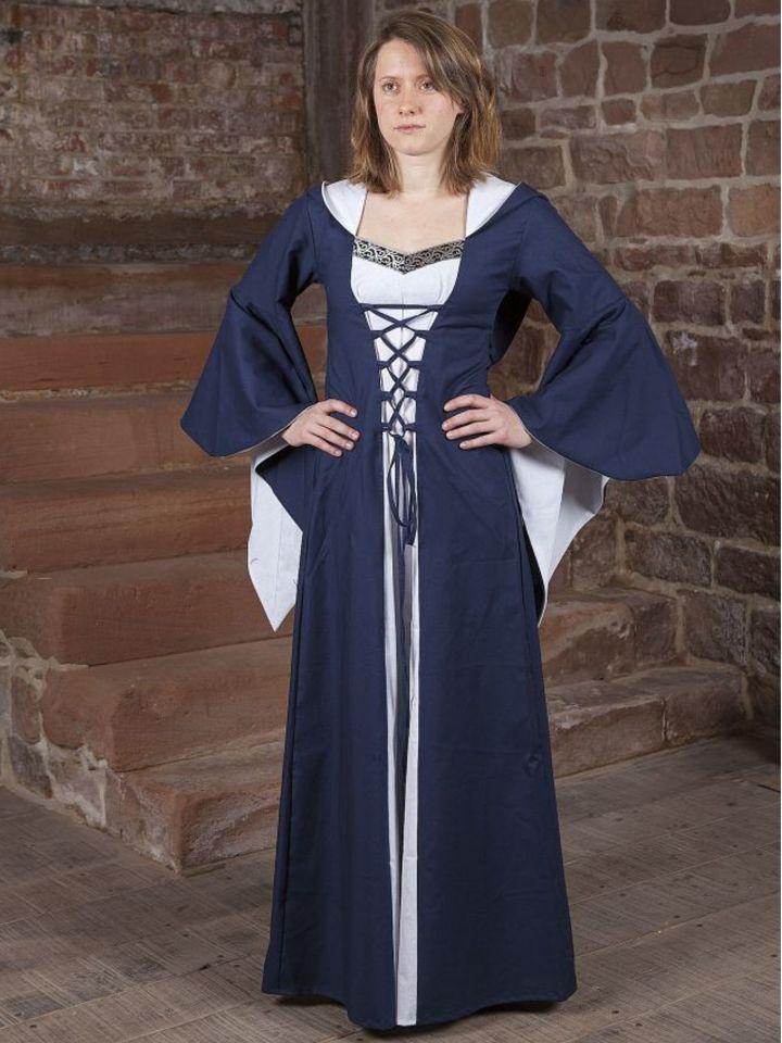 Robe médiévale Lucia en bleu et blanc