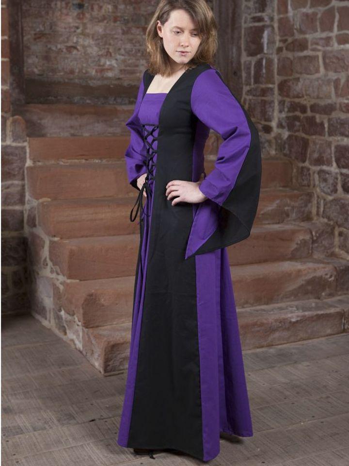 Robe médiévale Sonya en lila et noir