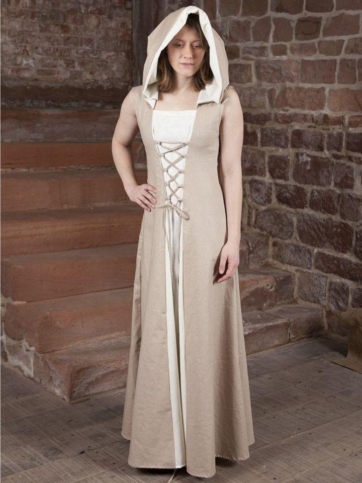 Robe médiévale Loris en blanc et crème