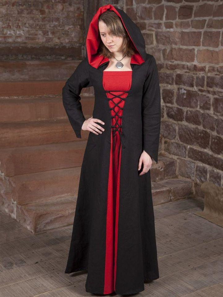 Robe médiévale Luna en noir et rouge